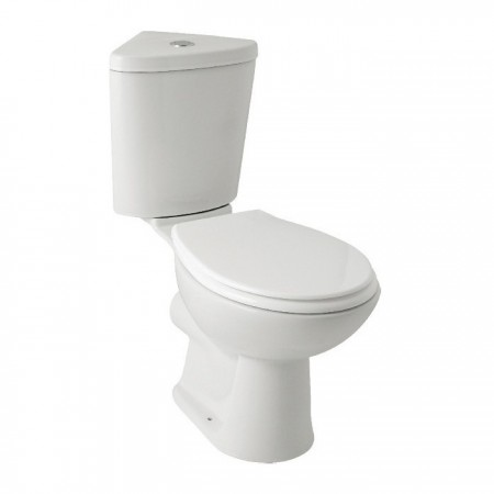 Kartell G4k Ceramic Close Coupled Toilet WC Pan With Corner Cistern And Soft-Close Seat