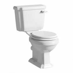 Kartell Astley Ceramic Close Coupled Toilet WC Pan With Cistern And Mouldwood Soft-Close Seat