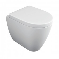 Kartell Genoa Ceramic Back To Wall Toilet WC Pan With Soft-Close Seat