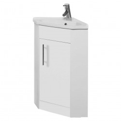 Kartell Impakt Corner Modern Vanity Unit 800mm H x 594mm W x 420mm D Floor Standing White